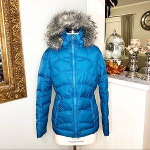 Columbia Down Puffer Winter Coat w Fur Trim